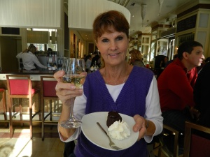 Mom with Sacher-Torte